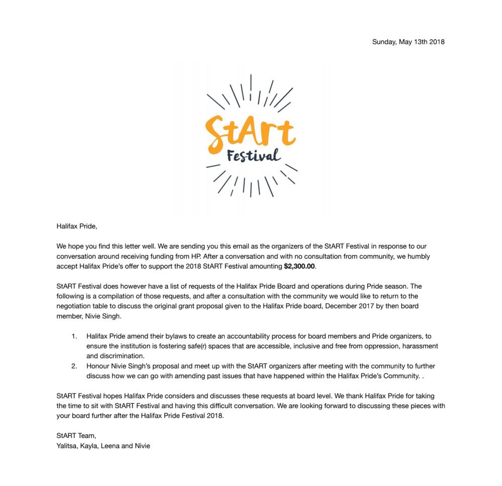 StART Halifax Pride Letter